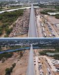 텍사스주 국경 도시 델리오의 교량 아래 형성됐던 아이티 난민촌의 24일 전과 후 모습. 난민들이 가득 몰려 있던 다리 아래가 아래 사진에서 텅 비어 있다. [로이터]