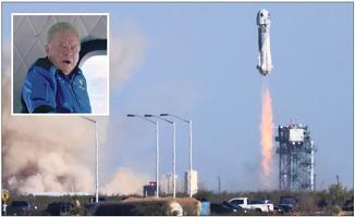 13일 텍사스주에서 '스타트랙' 배우 윌리엄 셰트너를 태운 블루 오리진 로켓이 우주여행을 위해 발사되는 모습. 작은 사진은 우주여행 중인 섀트너. [로이터]