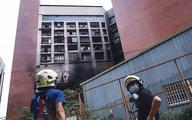 14일 불이 난 대만 남부 가오슝의 13층 주상복합건물. [로이터]